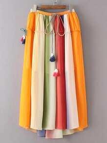 Jupe plissé avec cordon de taille avec frange