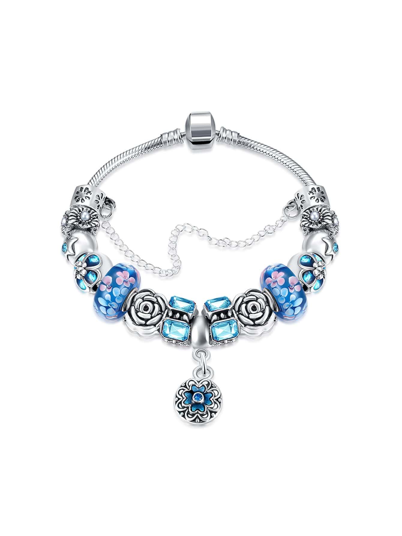 Фото Flower Design Chain Bracelet With Rhinestone. Купить с доставкой