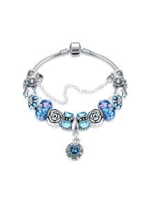Bracelet chaîne avec design de fleur avec strass