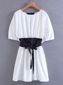 Lace Up Corset V Cut Back Dress