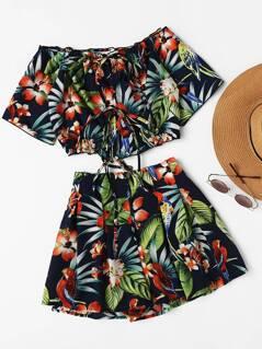Bardot Tropical Print Lace Up Top With Shorts