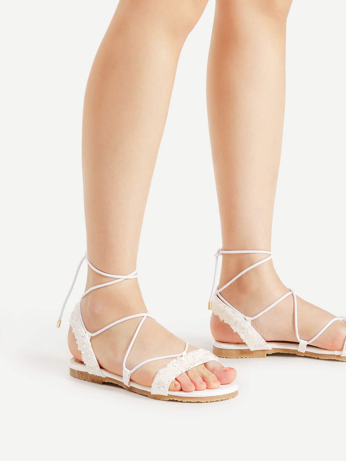Фото Stone Embellished Cross Lace Up Sandals. Купить с доставкой
