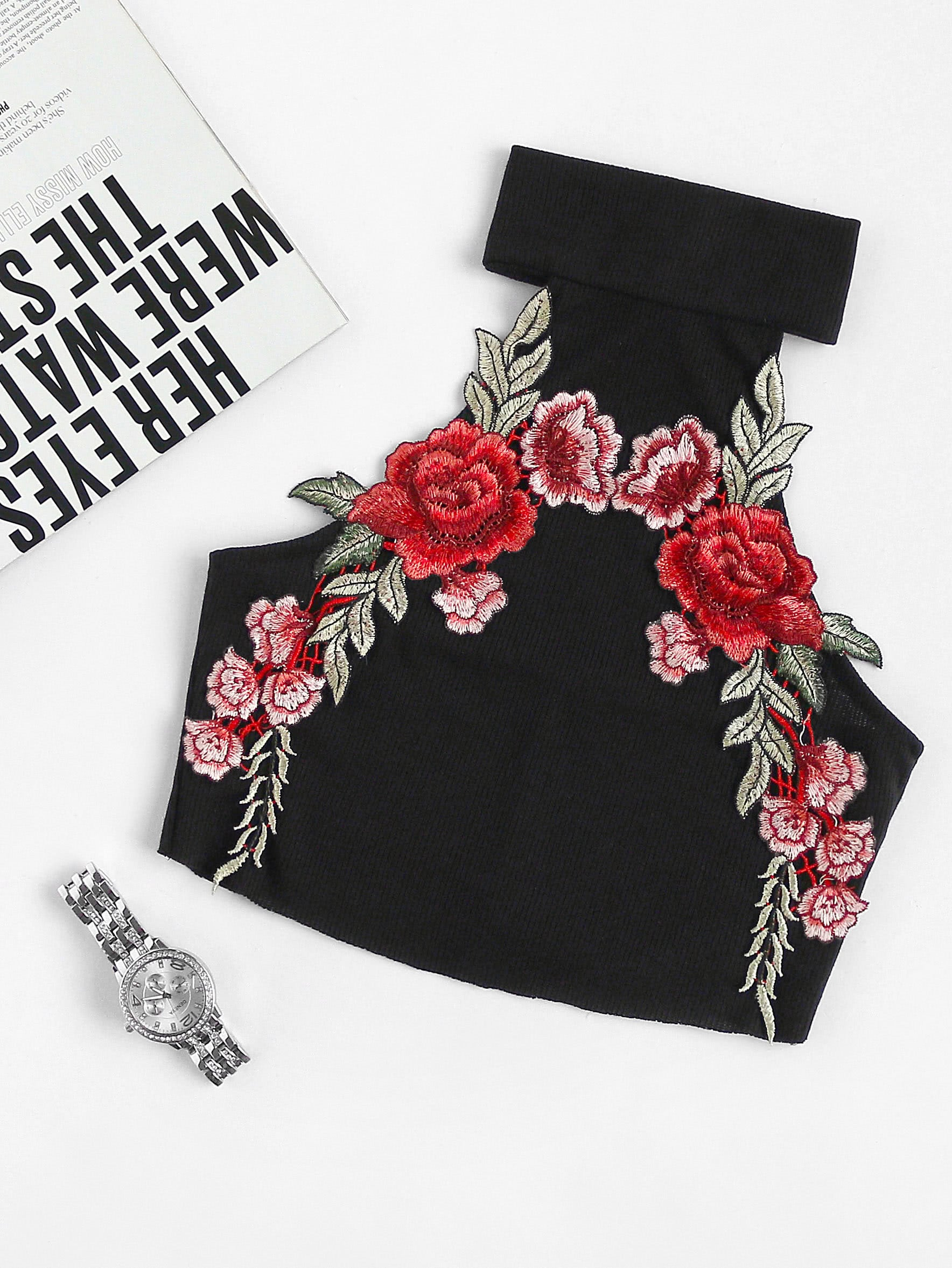 Embroidered Appliques Ribbed Crop Top vest170609101