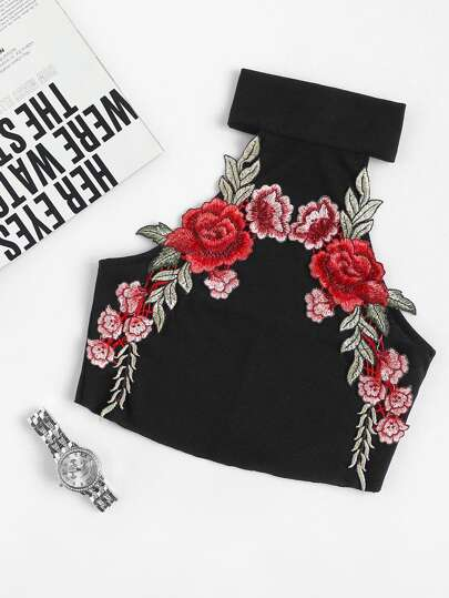 Embroidered Appliques Ribbed Crop Top