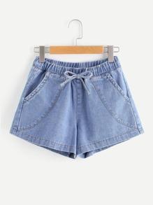 Light Wash Tie Waist Denim Shorts