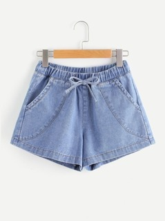 Light Wash Tie Waist Denim Shorts