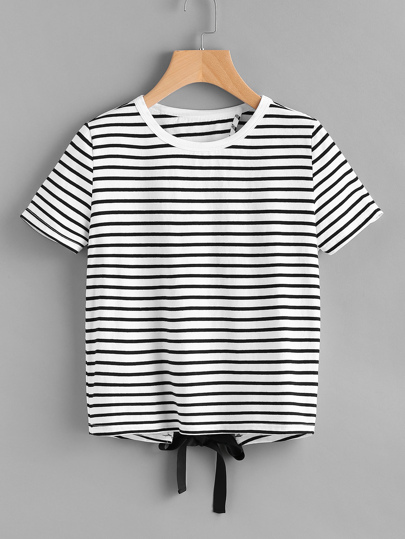 Bow Tie Overlap Back Striped Tee
