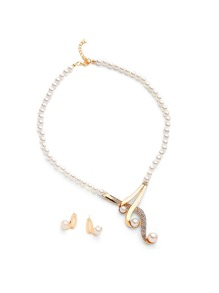 Faux Pearl Design Necklace With Stud Earrings