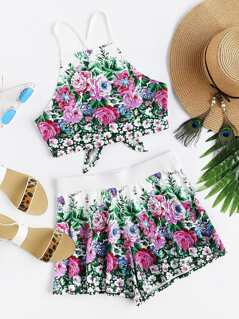 Crisscross Tie Back Floral Cami And Shorts Co-Ord