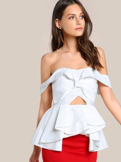 Off Shoulder Ruffle Hi Lo Top WHITE