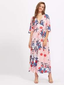 Mixed Print Split Back Empire Waist Dress