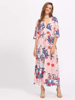 Mixed Print Split Back Empire Waist Dress