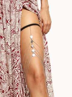 Layered Coin Pendant Thigh Chain