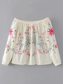 Boat Neckline Flower Embroidery Top