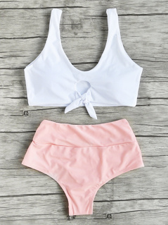 Two Tone Knot Detail Tankini Set