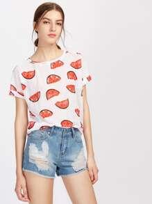Tee-shirt imprimé des melons de l'eau avec des replis