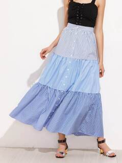 Mixed Pinstripe Button Up Tiered Skirt