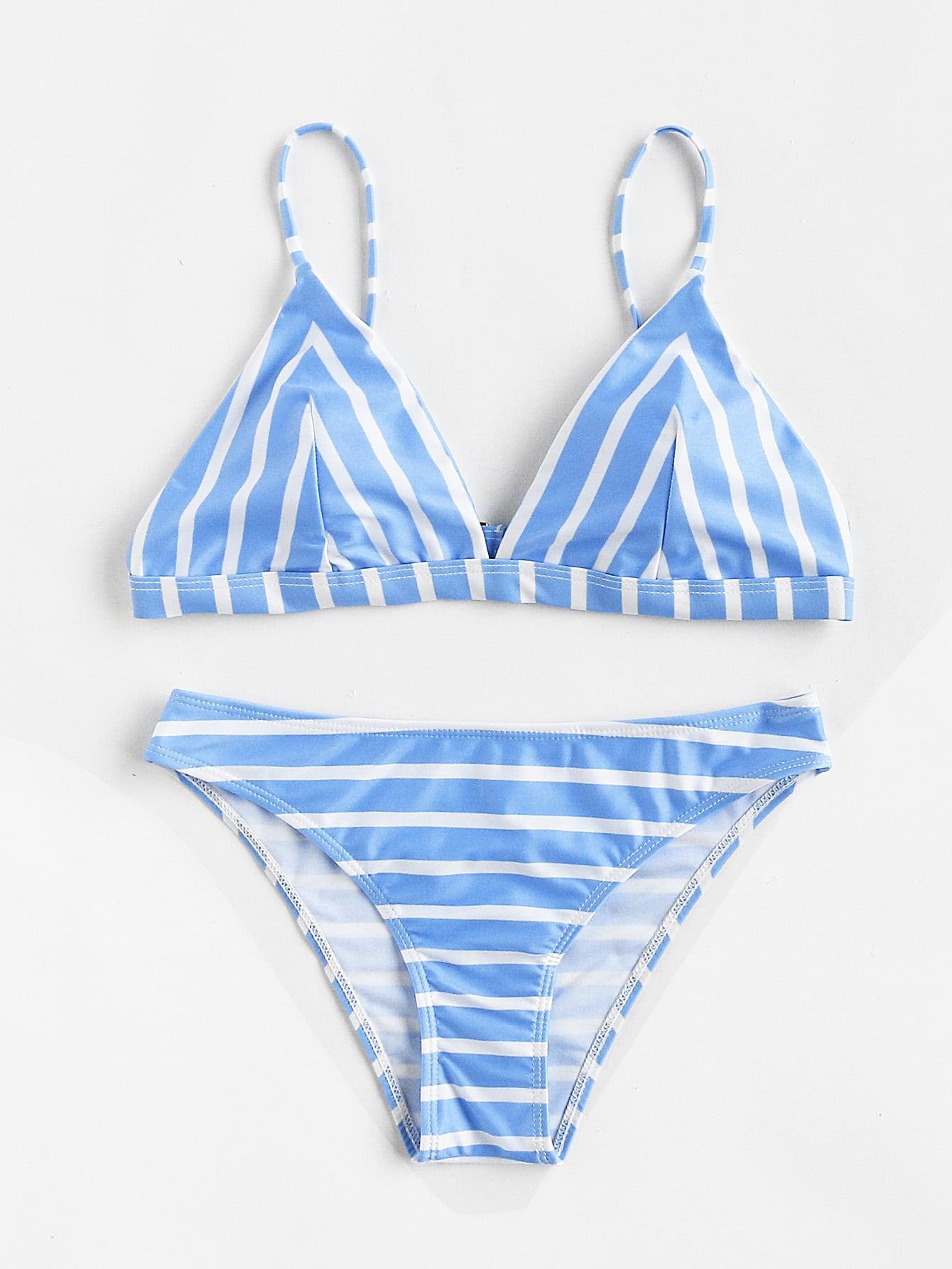 Фото Block Striped Triangle Bikini Set. Купить с доставкой