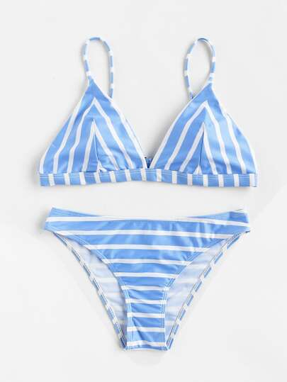 Block Striped Triangle Bikini Set