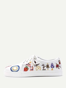 Embroidery Design Lace Up Sneakers