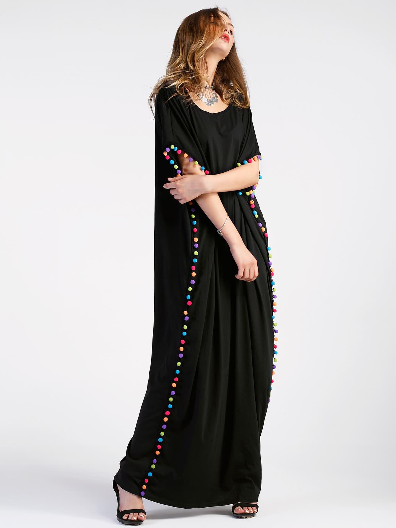 Pom Pom Trim Full Length Kaftan Dress thumbnail