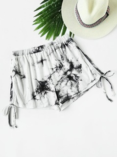 Tie Dye Drawstring Side Shorts