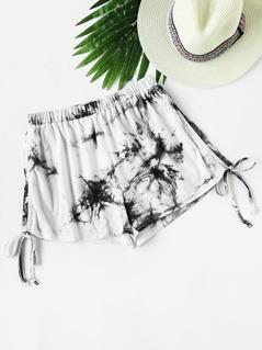 Tie Dye Drawstring Side Shorts