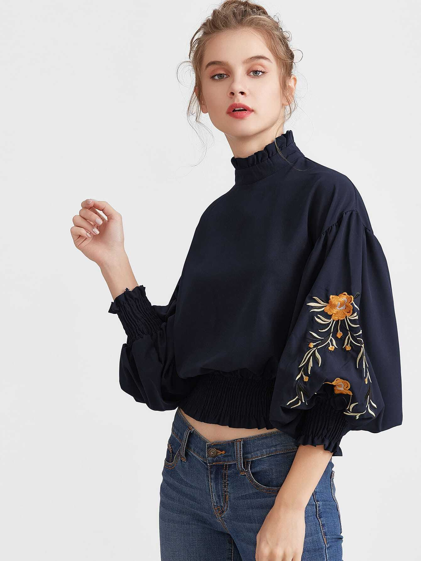 Фото Embroidered Lantern Sleeve Shirred Hem Blouse. Купить с доставкой
