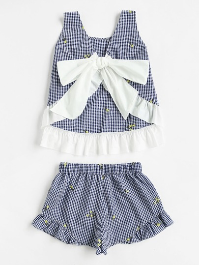 Contrast Trim Tie Back Checkered Top And Shorts Set