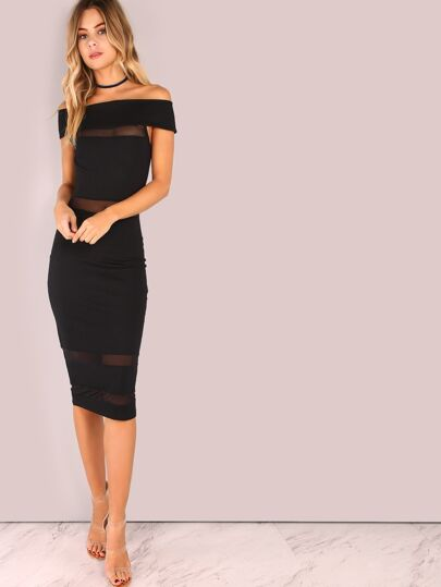 Off Shoulder Mesh Panel Bodycon Dress