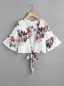 Random Florals Bell Sleeve Tie Front Top