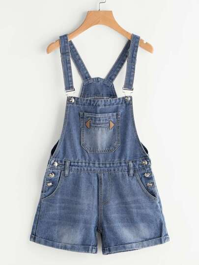 Rolled Cuff Denim Dungaree Shorts