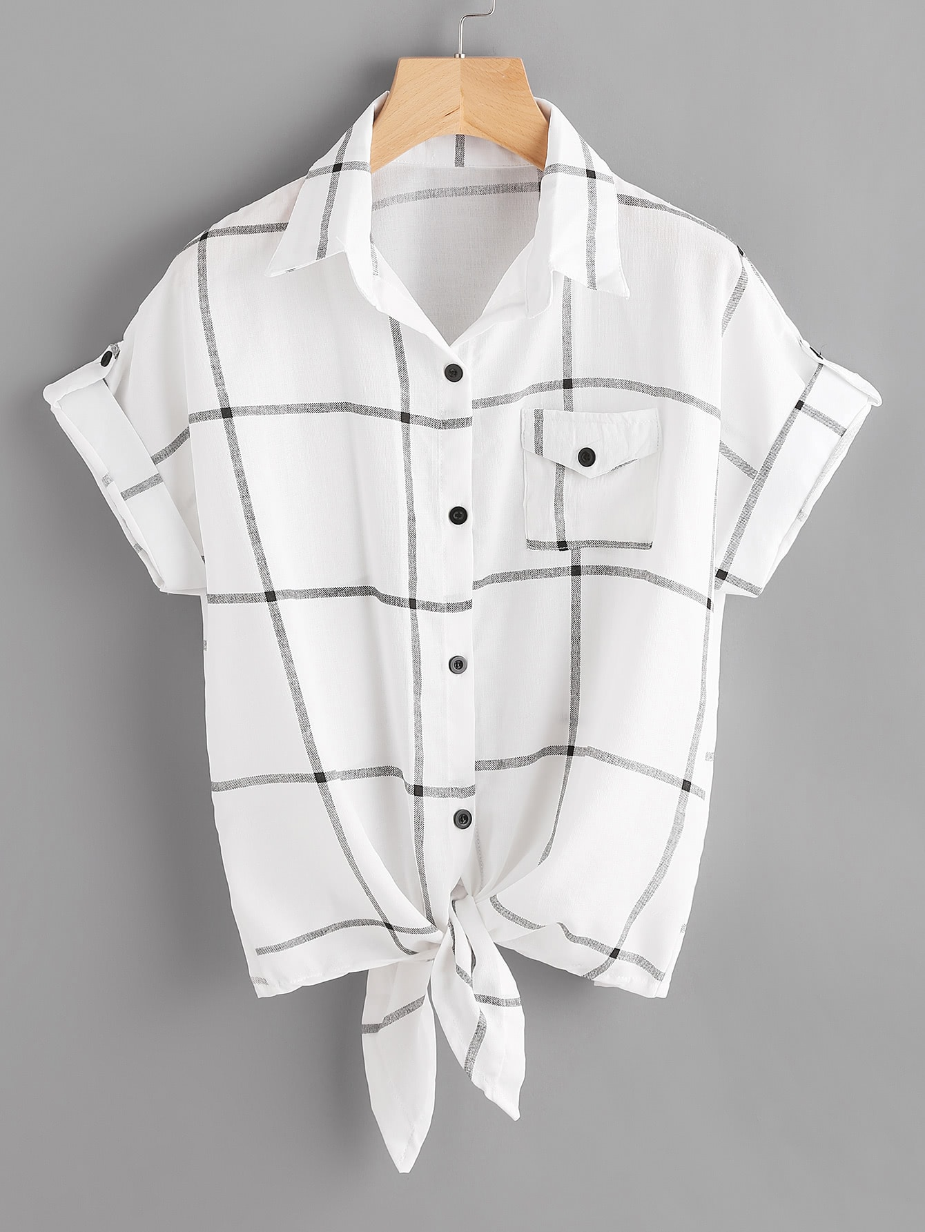 Checked Knot Front Cuffed Shirt With Chest Pocket pocket front shirt dress