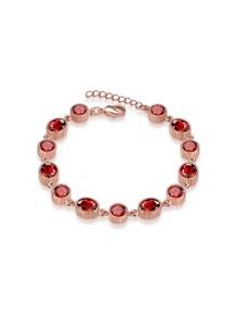 Bracelet plaqué d\'or en forme de rose cristal embelli