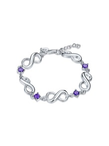 Rhinestone Lucky Eight Design Chain Bracelet