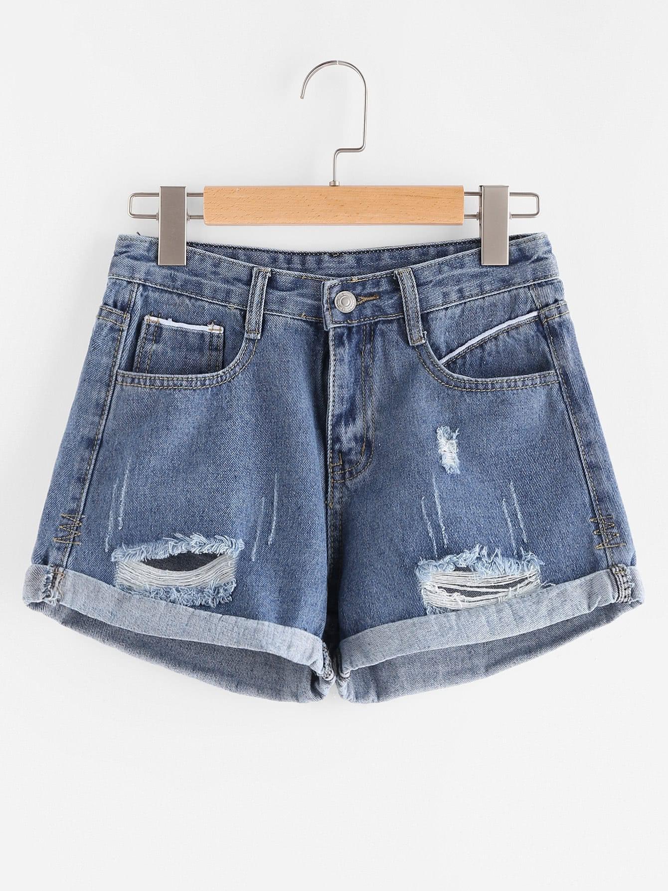 Фото Ripped Cuffed Denim Shorts. Купить с доставкой