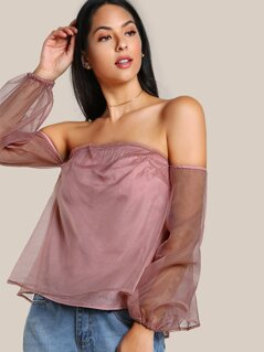 Bardot Sleeve Flowy Top DARK MAUVE