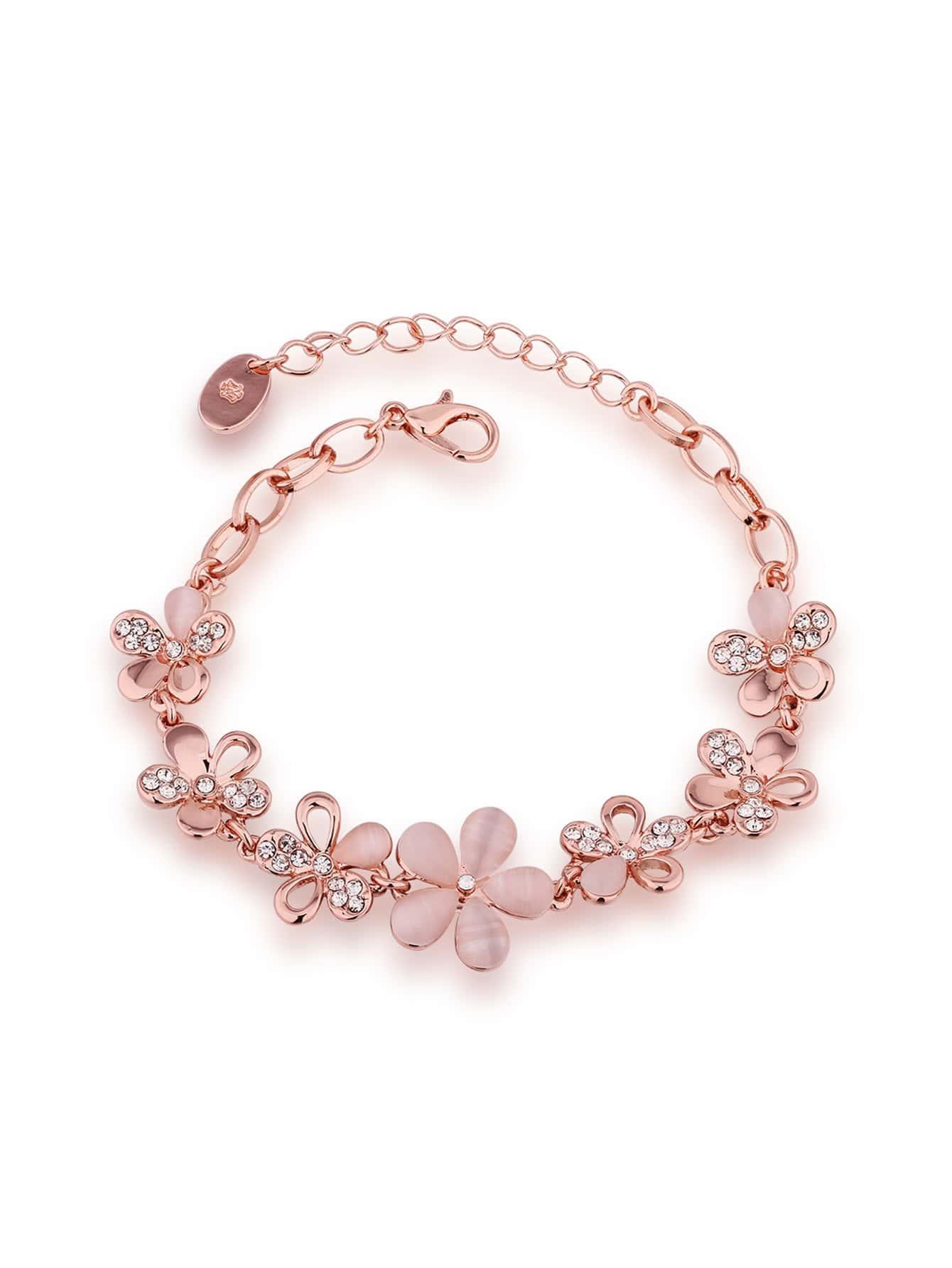 Фото Rhinestone Detail Flower Chain Bracelet. Купить с доставкой