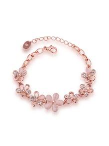 Bracelet à chaîne à fleur en strass