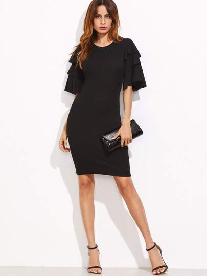 Layered Ruffle Sleeve Ribbed Dress