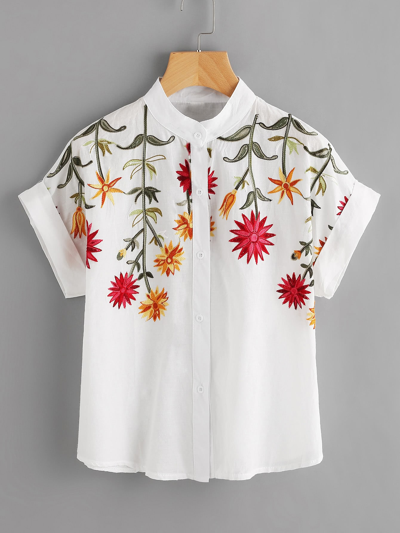 Фото Floral Embroidered Roll-up Cuff Blouse. Купить с доставкой