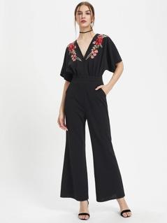 Embroidered Flower Applique Kimono Jumpsuit