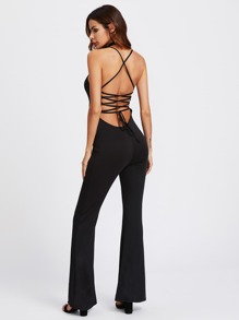 Lace Up Open Back Flare Jumpsuit
