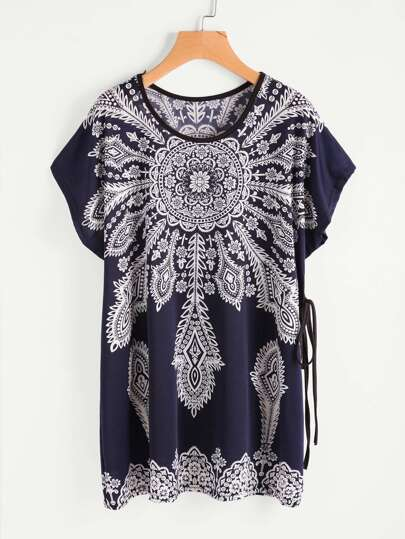 Vintage Print Dolman Sleeve Tie Detail Tee Dress