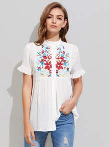 Embroidered Yoke Frilled Sleeve Crinkle Blouse