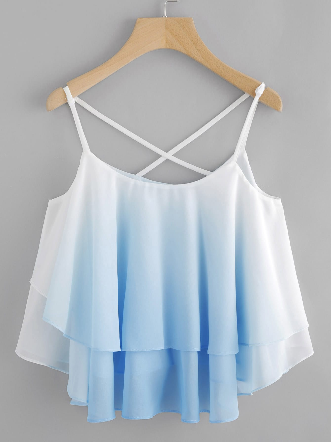 Ombre Crisscross Layered Swing Cami Top