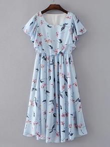 Flutter Sleeve Botanical Dress
