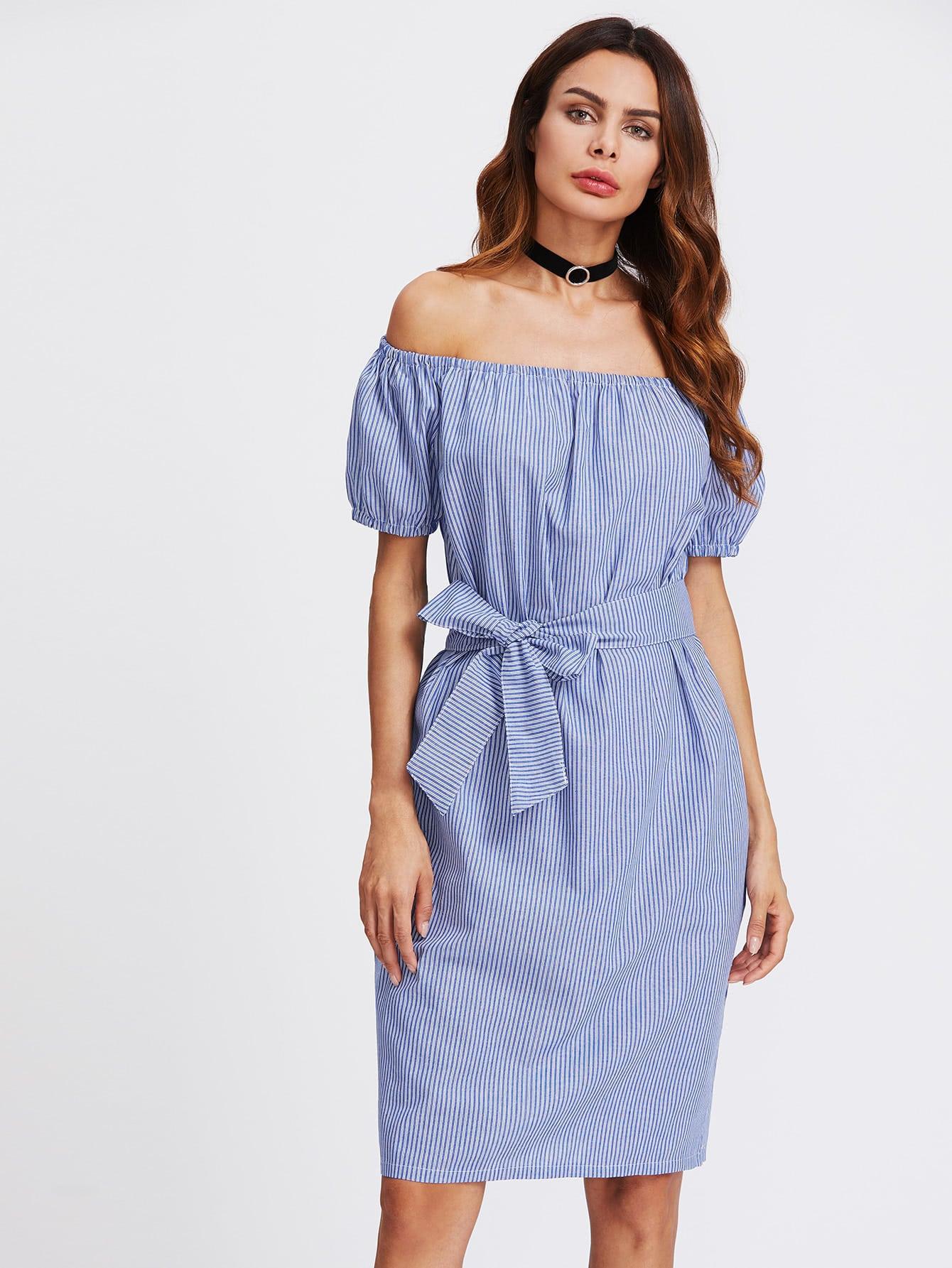 Фото Vertical Striped Bardot Self Tie Dress. Купить с доставкой