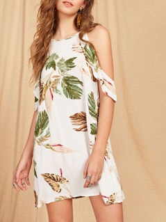 Frill Cold Shoulder Keyhole Back Tropical Dress