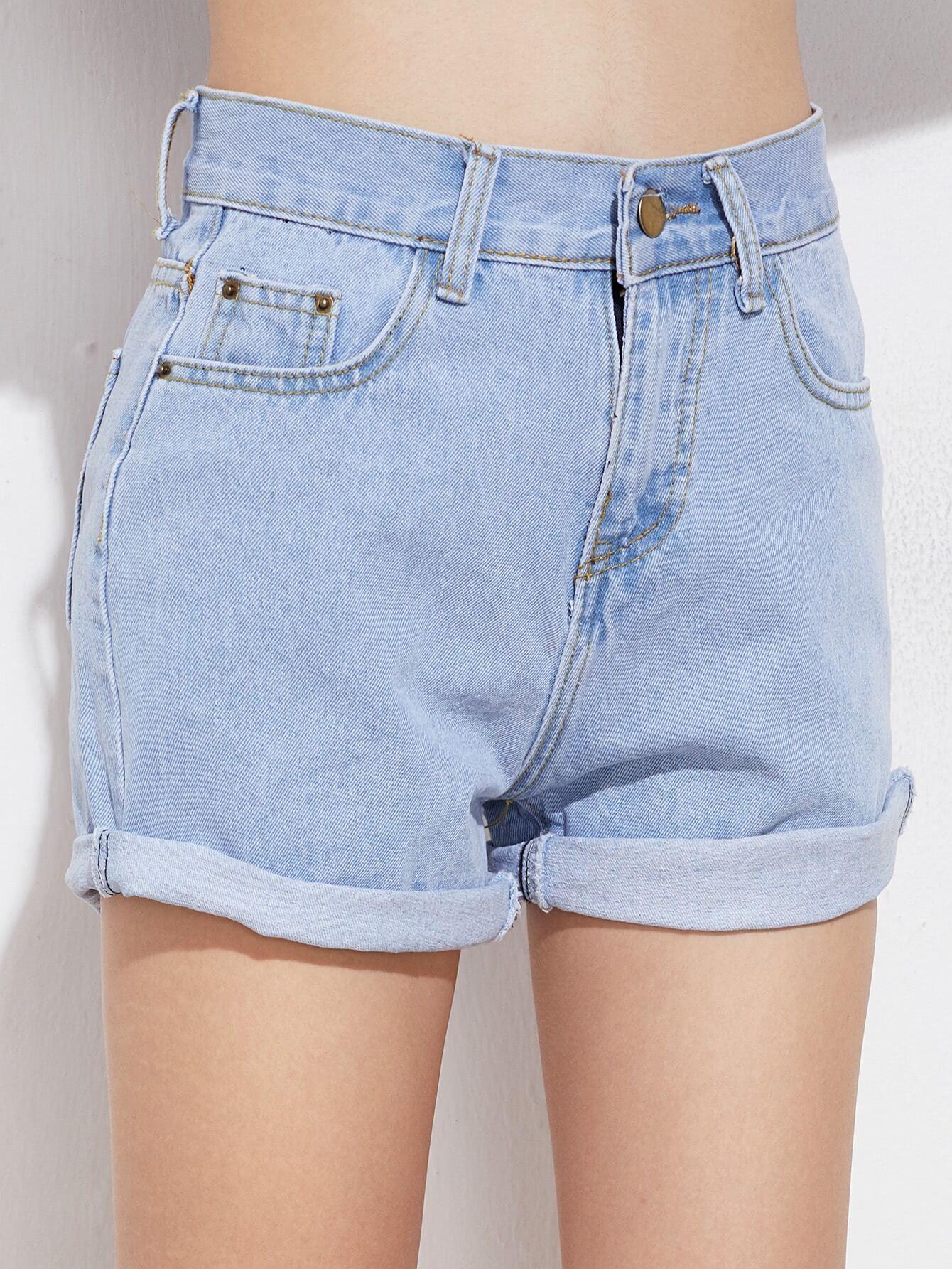 Rolled Cuff Denim Shorts